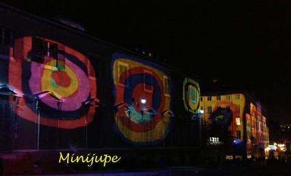 fête des lumières,lyon,quai saone,couleur,tableau,art,fourvière